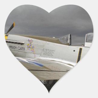 """P51 Mustang """"Harlem Queen"""" X Heart Sticker"""