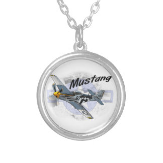 P51 Mustang Round Pendant Necklace