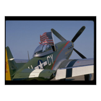 P51 Mustang, Rear View.(flag)_WWII Planes Poster