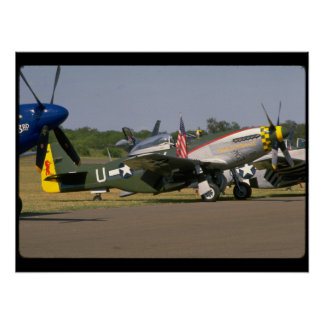 P51 Mustang, Side View.(runway)_WWII Planes Poster