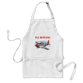 P51 Mustang Silver-Red Plane Adult Apron