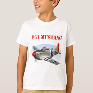 P51 Mustang Silver-Red Plane T-Shirt