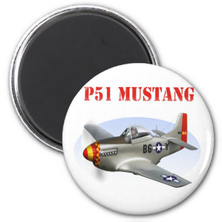 P51 Mustang Silver-Red/Yellow Plane 2 Inch Round Magnet