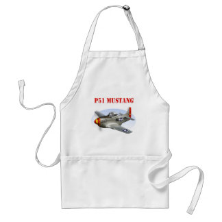 P51 Mustang Silver-Red/Yellow Plane Adult Apron