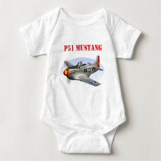 P51 Mustang Silver-Red/Yellow Plane Baby Bodysuit