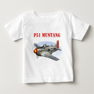 P51 Mustang Silver-Red/Yellow Plane Baby T-Shirt