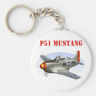 P51 Mustang Silver-Red/Yellow Plane Keychain