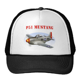 P51 Mustang Silver-Red/Yellow Plane Trucker Hat