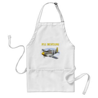 P51 Mustang Silver-Yellow Plane Adult Apron