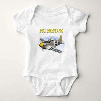 P51 Mustang Silver-Yellow Plane Baby Bodysuit