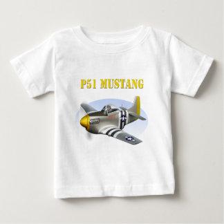 P51 Mustang Silver-Yellow Plane Baby T-Shirt