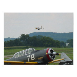 P51 overflying T6 Poster
