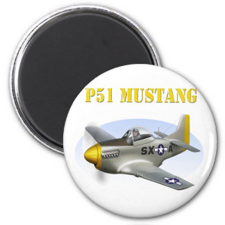 P51 Silver-Yellow Plane 2 Inch Round Magnet