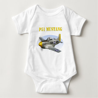 P51 Silver-Yellow Plane Baby Bodysuit