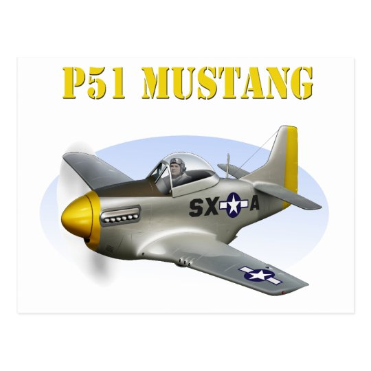 P51 Silver-Yellow Plane Postcard
