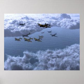 P51'a Escort Lancaster Bombers Poster