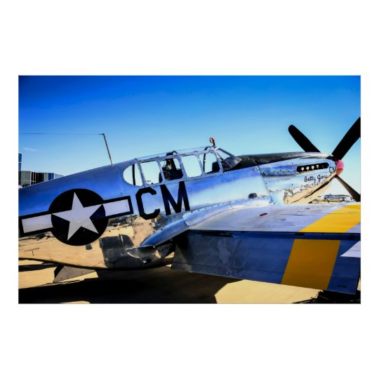 P51C Mustang WWII Fighter Plane Poster