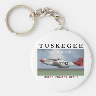 P51D 332nd Fighter Group Basic Round Button Keychain