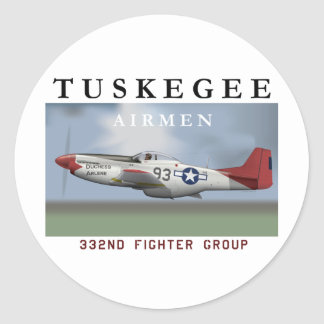 P51D 332nd Fighter Group Classic Round Sticker