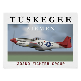 P51D Red Tail Mustang Fighter Poster
