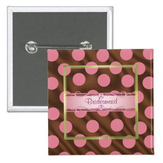 P6 Pink Brown Silk Polka Dot Bridesmaid Pin