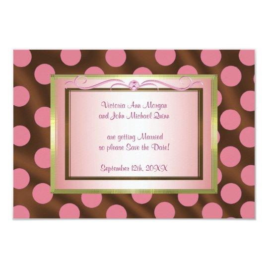 P6 Pink Brown Silk Polka Dot Save the Date card