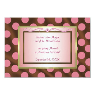 P6 Pink Brown Silk Polka Dot Save the Date card Personalized Invitation