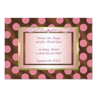 "P6 Pink Brown Silk Polka Dot Save the Date card 3.5"" X 5"" Invitation Card"