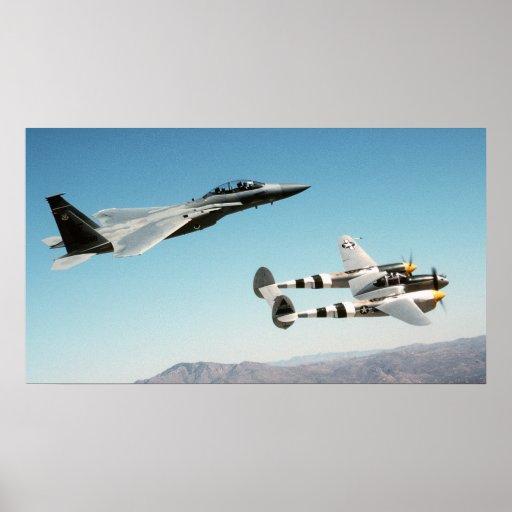 P-38 Lighning F-15 Eagle Poster