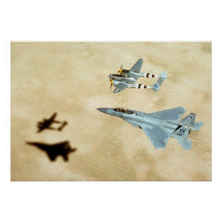 P-38 Lightning and F-15 Eagle Poster