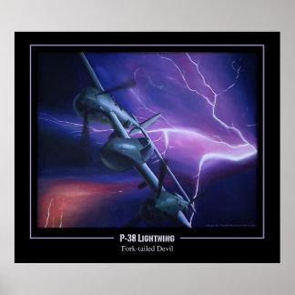 P-38 Lightning Fork-Tailed Devil Poster