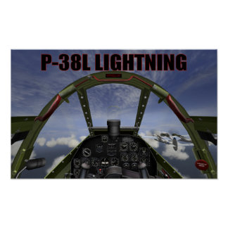 P-38L LIGHTNING COCKPIT VIEW POSTER