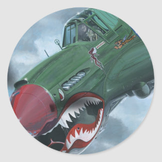 P-40 Kittyhawk Classic Round Sticker