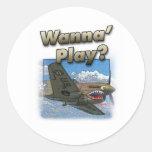 P-40 Plane - Wanna Play? Classic Round Sticker