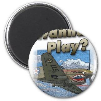P-40 Plane - Wanna Play? Fridge Magnets