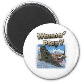 P-40 Plane - Wanna Play? Refrigerator Magnets
