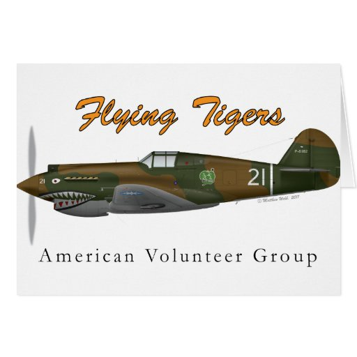 P-40B Flying Tigers Greeting Cards