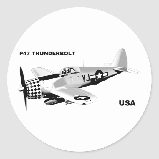 P-47 THUNDERBOLT CLASSIC ROUND STICKER