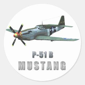 P-51 B Mustang Classic Round Sticker