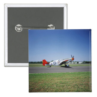 P-51 C Tuskegee Red Tail airplane at the CAF Air 2 Inch Square Button