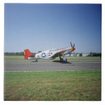 P-51 C Tuskegee Red Tail airplane at the CAF Air Ceramic Tile