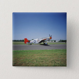 P-51 C Tuskegee Red Tail airplane at the CAF Air Pinback Button
