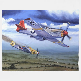 P-51 COCKPIT, (RED TAILS, Note the Black Pilot) Fleece Blanket