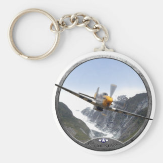 P-51 Mustang Basic Round Button Keychain