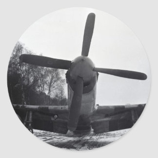 P 51 Mustang Battle of the Bulge Classic Round Sticker