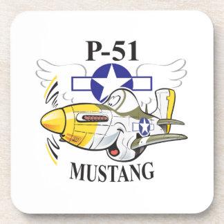 p-51 mustang beverage coaster