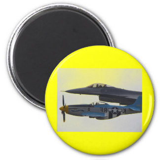 P-51 MUSTANG & F-16 EAGLE 2 INCH ROUND MAGNET
