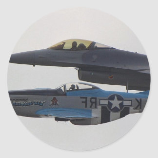 P-51 MUSTANG & F-16 EAGLE CLASSIC ROUND STICKER
