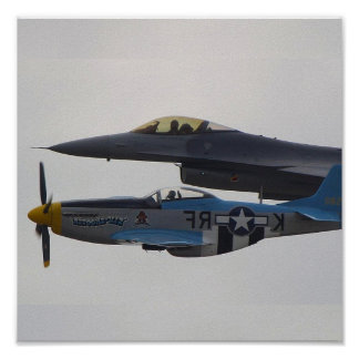 P-51 MUSTANG & F-16 EAGLE POSTER
