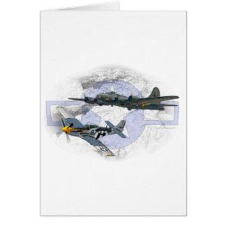 P-51 Mustang flying escort Card